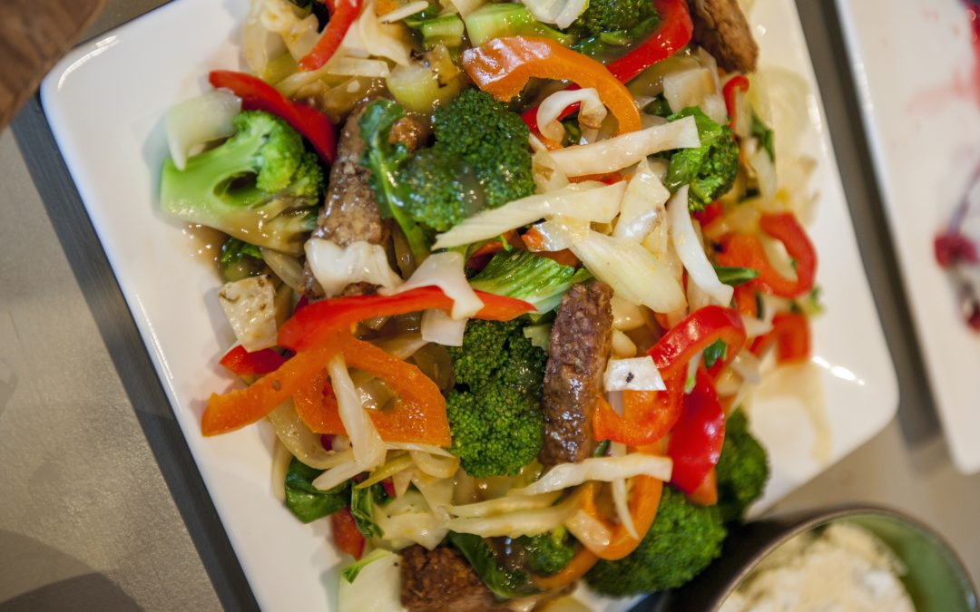 Pan-fried Tempeh with Stir-fried Vegetables