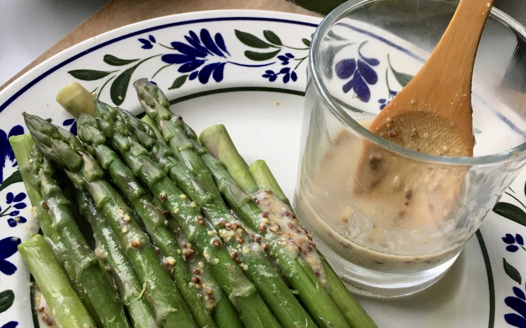 Asparagus with White Miso and Mustard Sauce