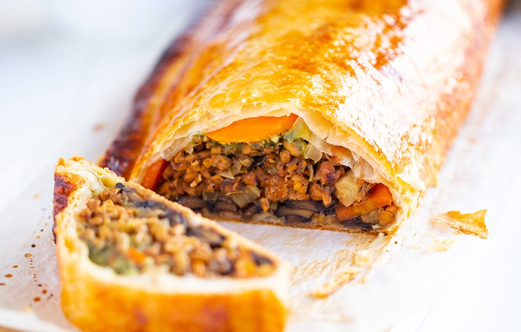Vegetable and Tempeh Wellington with Shiitake Mushroom Gravy